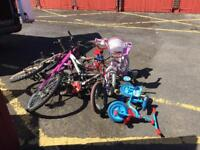 JOB LOT OF 6 BICYCLES FOR SALE. FREE LOCAL DELIVERY