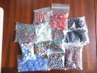 Several bags of colourful beads, various types, sizes and shapes!