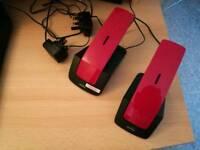 Binatone Designer 2102 Twin Modern DECT Home Cordless Telephone 2 Pack Red/Black