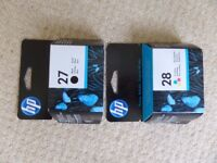 FREE - HP27 and HP28 Cartridges - approx 2 years old - unused and still sealed