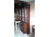 Display Cabinets with storage x 2 in beautiful Dark Wood with Glass will sell separately
