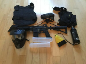 US Army Project Salvo Paintball Gun Black with add-ons and kit