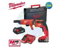 Milwaukee 18v M18 Brushless Fuel Drywall Collated Screwgun X2 M18B2 Batteries Charger