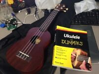 Excellent condition Makala Soprano Ukulele with case and book