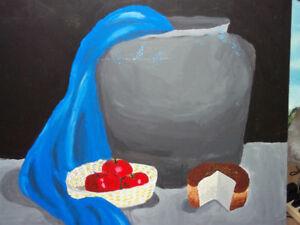 bread and apple still life