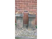 pair of square victorian chimney pots