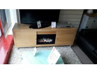 Light Wood TV Cabinet with Fire Display