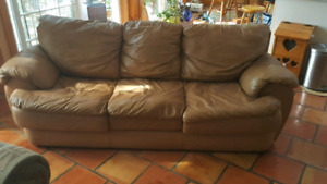 2 couches one real leather  and one pull out couch