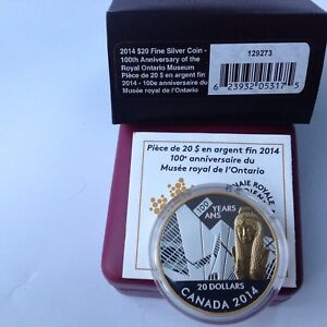 2014 $20 Silver Coin-100th ANV  of the Royal Ontario Museum