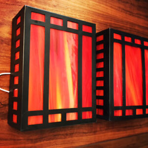 Red stained glass wall sconce