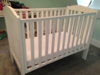 White Mothercare Cot with Drop side and Mattress and Under Cot Drawer