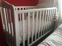 Mothercare white cot and bumper