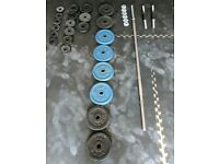 Dumbbells, barbell and cast iron plates