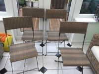 Rattan garden chairs and cushions