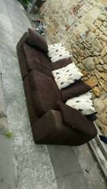 Large 4 seater sofa settee couch brown not leather vgc