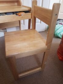 small childs wooden desk and chair. non smoking house.