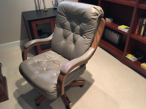 Executive Grey Leather Tufted Swivel Chair