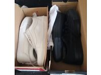 Black converse and white vans size 6