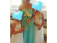 2 childrens bridesmaid dresses and 1 adults bridesmaid dress
