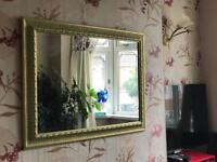 Lime green and gold antique design wall mirror