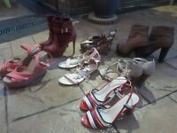 nearly new and 2 pairs of new sandalls, wedges, boots from Faith & New Look all size 7