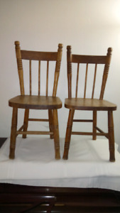 Pair of Antique Oak Children's Chairs