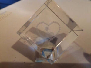 etched glass heart cubes