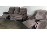 Brown velvet fabric manual recliner 3 seater sofa and recliner chair.