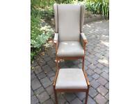 Sandringham Deluxe High Back Vinyl Chair plus matching footstool.