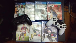500gb Playstation 4, 2 controllers, and 7 games