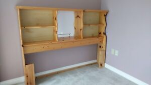 Queen size head board, solid wood with mirror