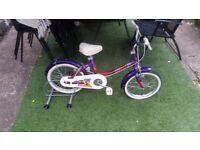 "Raleigh ""Genie"" girl's bike 16"" wheels SINGLE SPEED GOOD CONDITION"