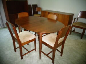 Vintage walnut table, chairs, leaves, buffet