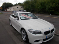 BMW 5 SERIES DIESEL AUTOMATIC SALOON 520 D M SPORT WHITE 22,000 MILES SALE PRICE