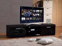 BRAND NEW MODERN LARGE 2M TV STAND CABINET UNIT WITH HIGH GLOSS DOORS - BLACK ON BLACK