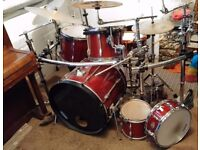 Tama 5 piece drum kit with Pearl gig bags, Gibraltar drum rack (will sell together or as 2 lots)