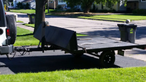 Double wide galvanized tilting snowmobile trailer