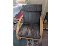 Ikea Poang Armchair + Leather Cushion NEED TO GO