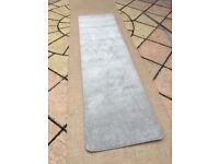 Unused grey saxony carpet rug runner