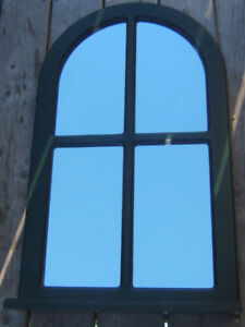 Green Rounded Window Frame Mirror
