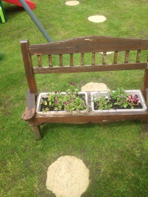 Wooden planter bench