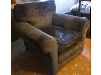 WADE handmade highest quality Dark brown velvet armchair, nice condition, very occasional use