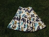 Vintage white print skirt, 50s, medium size