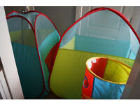 ELC Pop Up 3 in 1Tents With Tunnel in an easy carry bag.