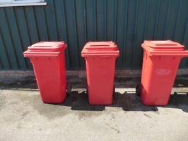 Three Red 120 Litre Wheelie Bins