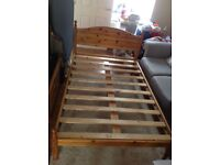 Small double pine bed frame with matching side table