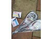 Squash rackets and balls all brand new