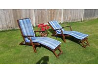 PAIR OF HARDWOOD STEAMER LOUNGER CHAIRS
