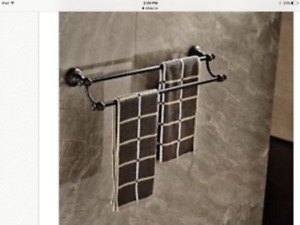 Oil Bronzed towel rail. 24 inches