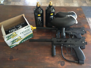 Two JT Outkast Paintball Markers & Guardian 20oz CO2 Cannisters